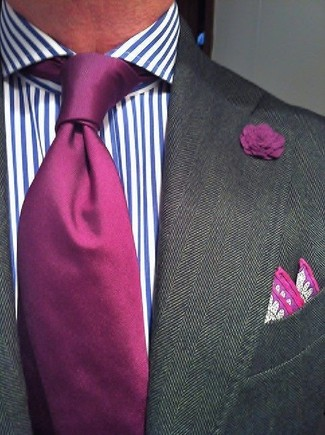 How to wear: charcoal blazer, white and blue vertical striped dress shirt, purple silk tie, purple paisley silk pocket square