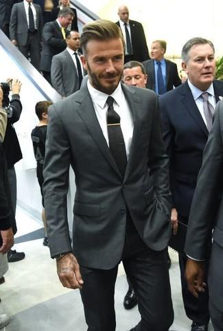 David Beckham wearing Charcoal Blazer, White Dress Shirt, Black Dress Pants, Black Tie