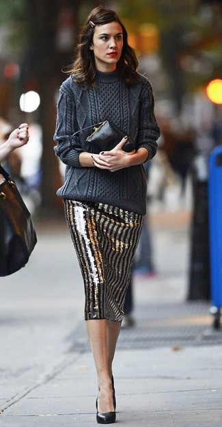 How to wear: charcoal cable sweater, black and gold vertical striped sequin pencil skirt, black leather pumps, black leather clutch