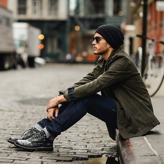 How to wear: black beanie, charcoal leather casual boots, navy jeans, olive pea coat