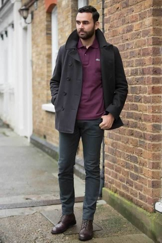 How to Wear Charcoal Chinos: A black pea coat and charcoal chinos are absolute essentials if you're picking out a smart casual wardrobe that holds to the highest fashion standards. A pair of dark brown leather casual boots is a smart choice to round off this outfit.