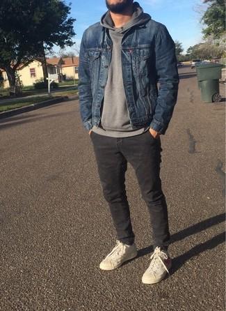 How to wear: beige high top sneakers, charcoal chinos, grey hoodie, blue denim jacket