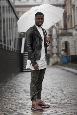 How to Wear Charcoal Chinos: Flaunt your credentials in men's fashion in this laid-back combo of a black leather biker jacket and charcoal chinos. Make a bit more effort with footwear and make burgundy leather derby shoes your footwear choice.