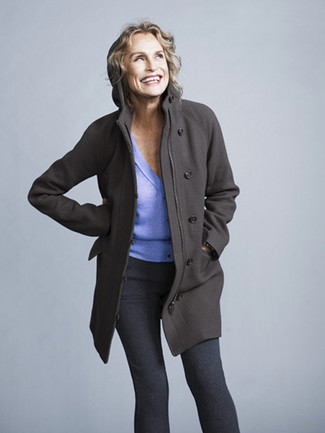Lauren Hutton wearing Charcoal Coat, Light Violet Cardigan, Charcoal Leggings