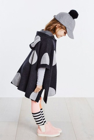 How to wear: charcoal coat, pink suede boots, grey wool baseball cap, pink tights