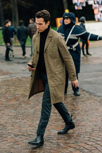How to wear: black leather chelsea boots, charcoal wool dress pants, black turtleneck, tan plaid trenchcoat