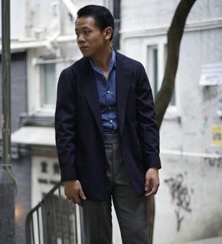 How to wear: charcoal dress pants, blue chambray long sleeve shirt, navy blazer