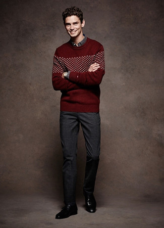 Men's Looks & Outfits: What To Wear In 2020: When the dress code calls for an effortlessly neat menswear style, you can rely on a burgundy fair isle crew-neck sweater and charcoal plaid dress pants. For footwear, you could go down a more classic route with a pair of black leather derby shoes.