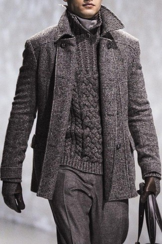 How to wear: charcoal wool gloves, charcoal wool dress pants, charcoal knit shawl-neck sweater, charcoal plaid overcoat