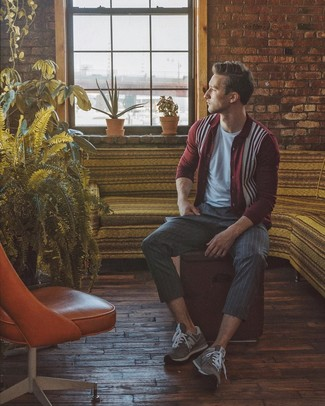 How to wear: grey suede athletic shoes, charcoal vertical striped dress pants, grey crew-neck t-shirt, burgundy print cardigan
