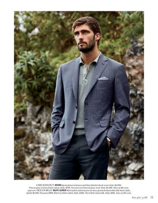 How to wear: light blue pocket square, charcoal dress pants, grey polo neck sweater, navy check blazer