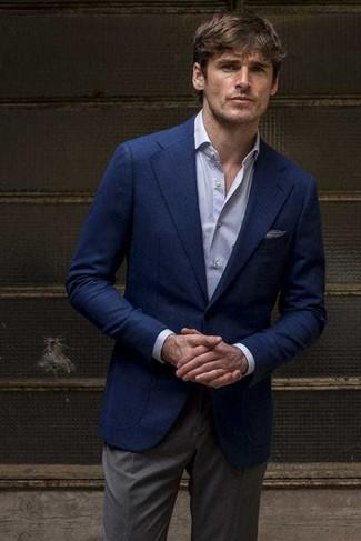 How to wear: charcoal dress pants, light blue dress shirt, navy blazer
