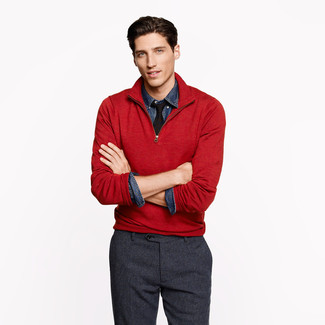 How to wear: black tie, charcoal wool dress pants, navy denim shirt, red zip neck sweater