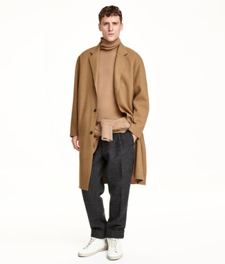How to wear: white leather low top sneakers, charcoal wool dress pants, tan turtleneck, camel overcoat