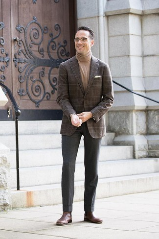 How to wear: dark brown leather chelsea boots, charcoal wool dress pants, tan turtleneck, dark brown plaid blazer