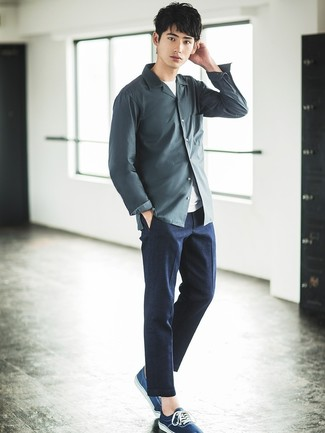 How to wear: navy low top sneakers, charcoal dress pants, white crew-neck t-shirt, charcoal long sleeve shirt