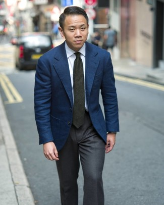 How to wear: dark green tie, charcoal dress pants, white dress shirt, navy blazer