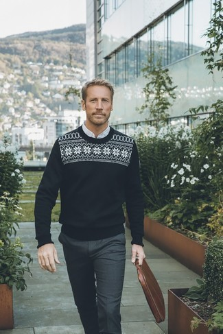Fashion for Men Over 40: What To Wear: This combination of a black and white fair isle crew-neck sweater and charcoal dress pants is a winning option when you need to look like a menswear guru.