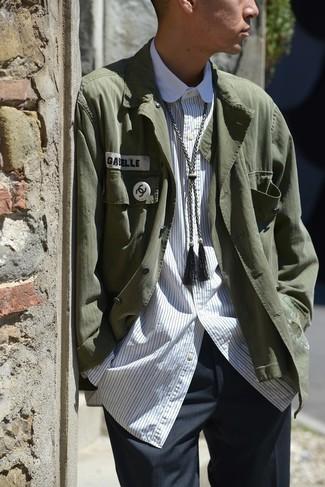 How to wear: charcoal dress pants, white vertical striped long sleeve shirt, dark green shirt jacket