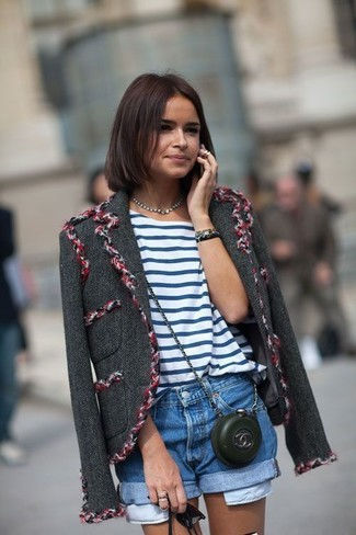 Miroslava Duma wearing Charcoal Tweed Jacket, White and Blue Horizontal Striped Crew-neck T-shirt, Blue Denim Shorts, Black Leather Crossbody Bag