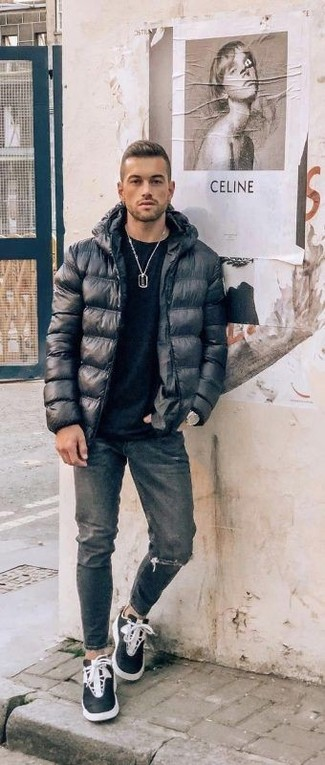 How to Wear Charcoal Ripped Jeans For Men: To create an off-duty outfit with a clear fashion twist, rock a black puffer jacket with charcoal ripped jeans. To bring a more laid-back spin to your outfit, add black and white high top sneakers to the equation.