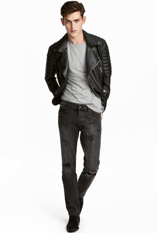 How to wear: black suede chelsea boots, charcoal ripped jeans, grey crew-neck t-shirt, black quilted leather biker jacket