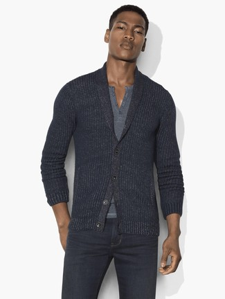 How to wear: charcoal jeans, grey henley shirt, charcoal shawl cardigan