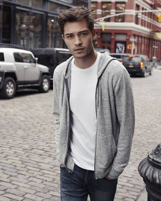 How to wear: charcoal jeans, white crew-neck t-shirt, grey knit hoodie