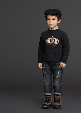 How to Wear Brown Boots For Boys: Opt for your little man's comfort with this combo of a black print sweater and charcoal jeans. This style is complemented wonderfully with brown boots.