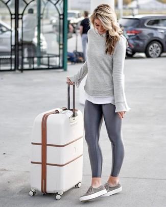 How to wear: grey slip-on sneakers, charcoal leggings, white crew-neck t-shirt, grey sweatshirt