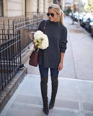 How to wear: burgundy leather crossbody bag, charcoal suede over the knee boots, navy skinny jeans, charcoal knit oversized sweater