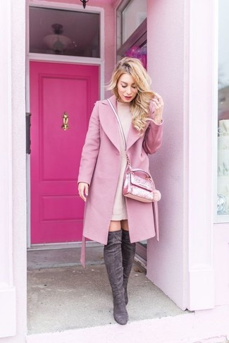 How to wear: pink embellished crossbody bag, charcoal suede over the knee boots, pink sweater dress, pink coat