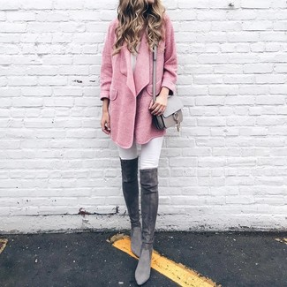 How to wear: grey leather crossbody bag, charcoal suede over the knee boots, white skinny jeans, pink coat