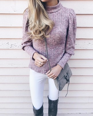 How to wear: grey suede crossbody bag, charcoal suede over the knee boots, white skinny jeans, pink turtleneck