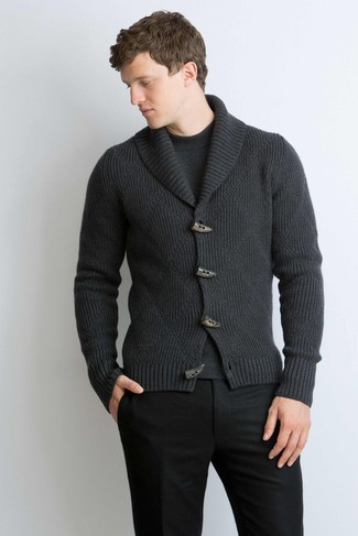 How to wear: charcoal shawl cardigan, charcoal crew-neck sweater, black wool dress pants