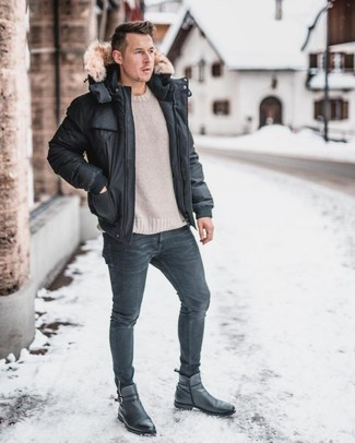 How to Wear a Beige Crew-neck Sweater For Men: One of the most popular ways for a man to style a beige crew-neck sweater is to marry it with charcoal skinny jeans for a laid-back ensemble. Give a smarter twist to an otherwise simple look with a pair of black leather chelsea boots.