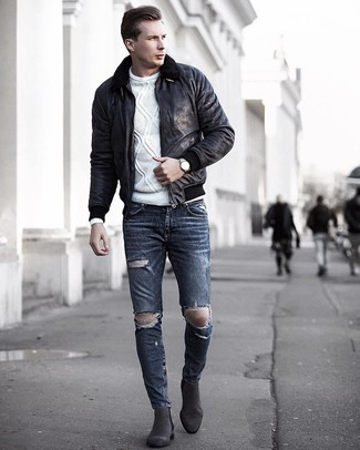 How to wear: charcoal suede chelsea boots, charcoal ripped skinny jeans, white cable sweater, black shearling jacket