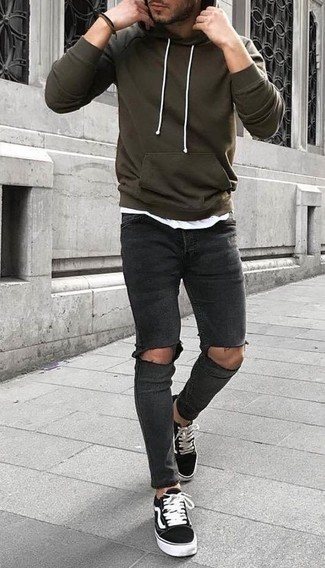 How to Wear an Olive Hoodie For Men: If you enjoy functional combos, team an olive hoodie with charcoal ripped skinny jeans. Bump up the cool of this look by slipping into a pair of black and white canvas low top sneakers.