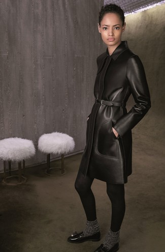 How to wear: black wool tights, charcoal wool socks, black leather tassel loafers, black leather coat
