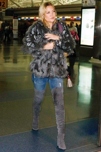 How to wear: charcoal suede over the knee boots, blue skinny jeans, charcoal fur jacket