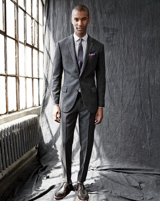 How to wear: charcoal wool suit, white check dress shirt, dark brown leather brogues, violet polka dot tie