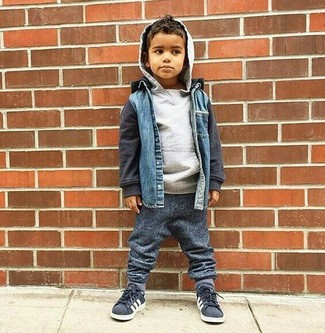 How to Wear Charcoal Sweatpants For Boys: This combo of a blue denim jacket and charcoal sweatpants has all the potential to become your son's favorite. The footwear choice here is pretty easy: finish this style with charcoal sneakers.
