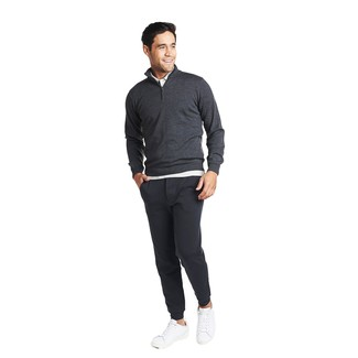 How to wear: white leather low top sneakers, charcoal sweatpants, white polo, charcoal zip neck sweater