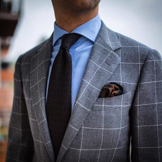 How to wear: dark green print pocket square, charcoal print tie, light blue dress shirt, grey check suit
