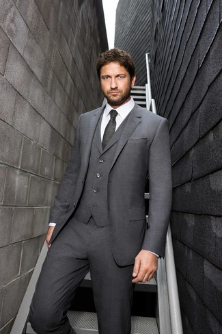 How to wear: grey pocket square, charcoal tie, white dress shirt, grey three piece suit