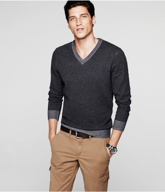How to wear: charcoal v-neck sweater, khaki cargo pants, dark brown leather belt