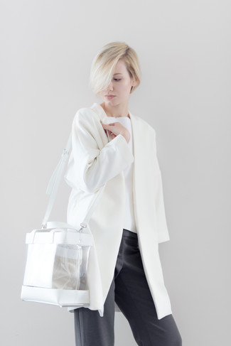 How to wear: clear rubber tote bag, charcoal wide leg pants, white crew-neck sweater, white coat