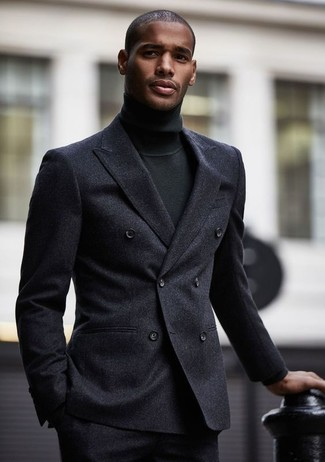 How to wear: charcoal wool dress pants, black turtleneck, charcoal wool double breasted blazer