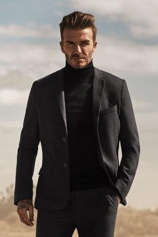 David Beckham wearing Charcoal Wool Suit, Black Turtleneck