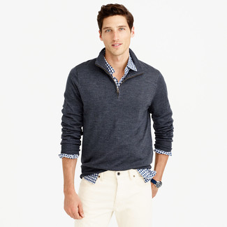 Men's Charcoal Zip Neck Sweater, White and Navy Gingham Long Sleeve Shirt, White Jeans